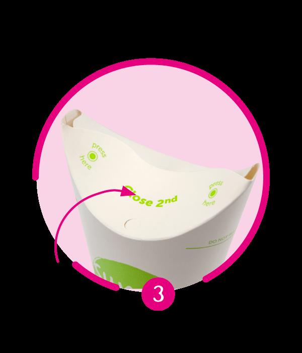 Image d'un gobelet écologique, recyclable et personnalisable ButterflyCup plié.